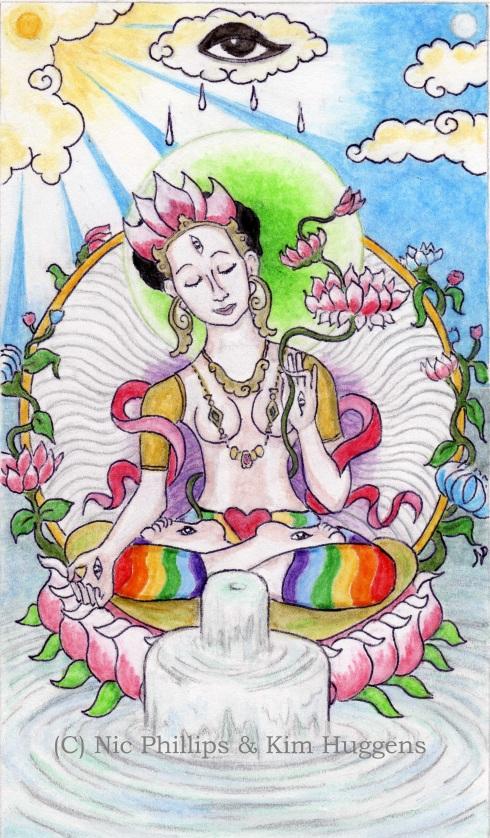 The Ace of Cups from Pistis Sophia: The Goddess Tarot (Copyright Nic Phillips & Kim Huggens 2012)