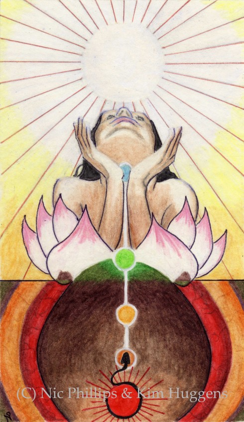The Ace of Wands from Pistis Sophia: The Goddess Tarot (Copyright Nic Phillips & Kim Huggens 2012)